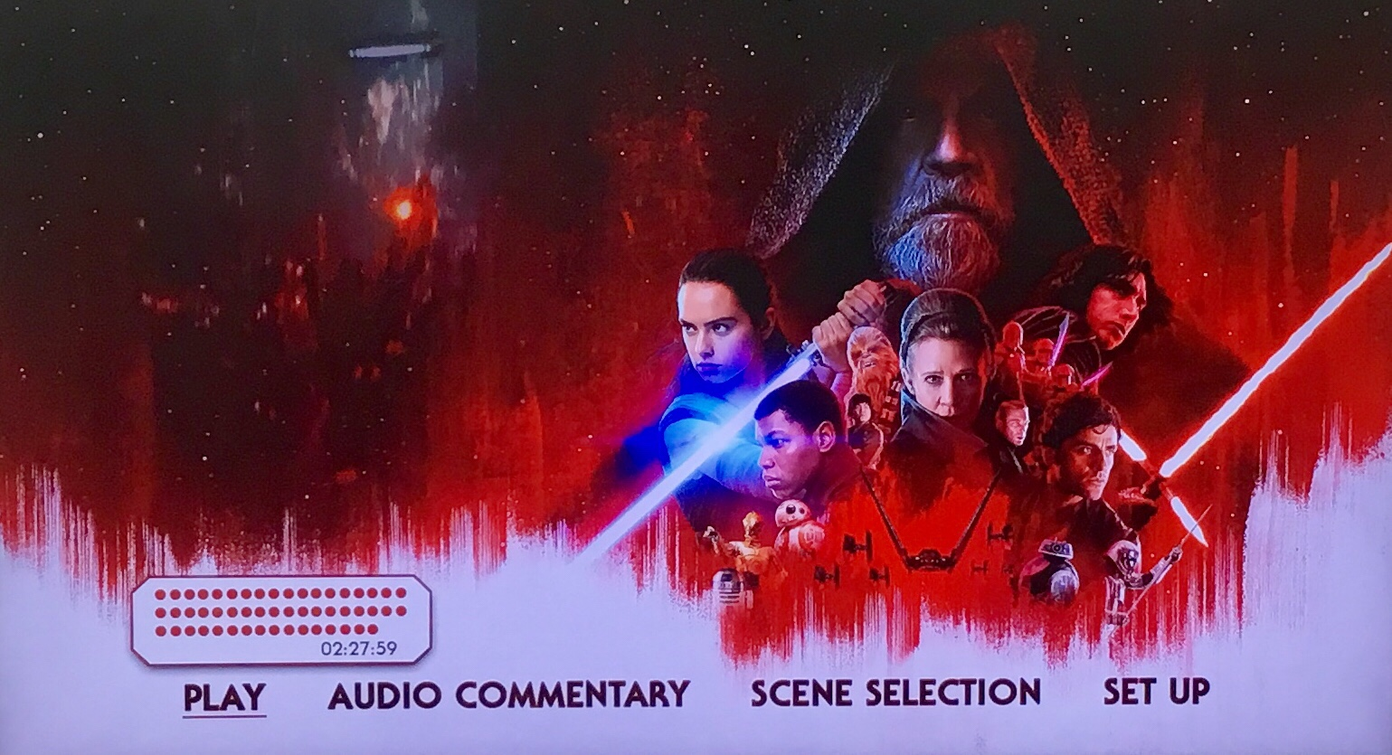 The menu screen of the Bluray of Star Wars: The Last Jedi